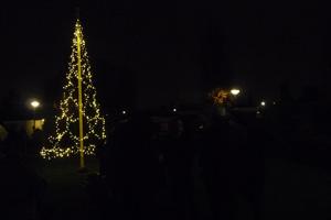 Kerstboom Keesomstraat ontstoken